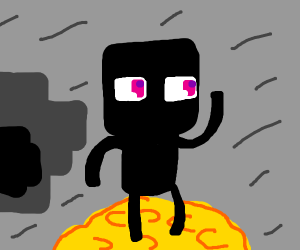 Enderman on a pile of gold