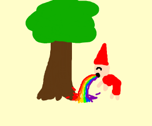 Gnome puking out rainbows on a tree