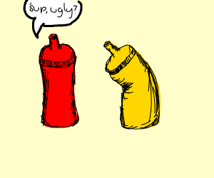 Ketchup bottle bullies mustard bottle :(