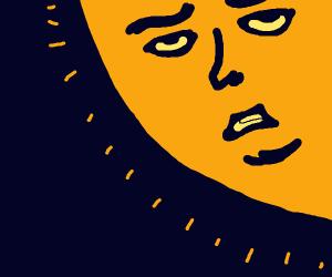 the sun with a weird face