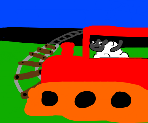 sheep driving a train