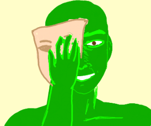 green guy with mask