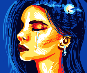 blue haired girl shedding a tear