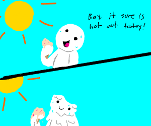 Sun melts person and their icecream