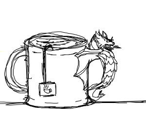 angry red dragon in tea cup