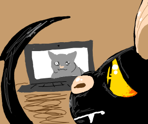 Bat cat with pointy tail watches sad memes