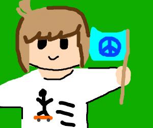skaterboi & peace flag