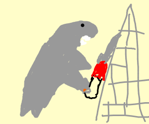 chainsaw shark attacking a radio tower