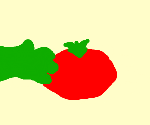 Tomato getting touched by a green glove?