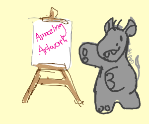 Hippo shows his amazing artwork