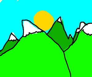 Mountain range under a bright sun