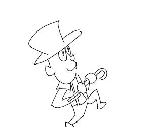 top hat & cane man dancing