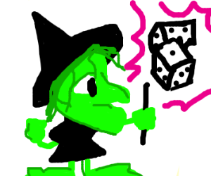 Shoeless witch summons dice