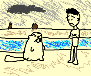 A guy looks sadly at a beaver