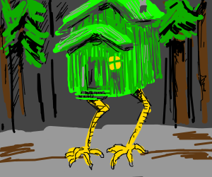 evil house with green legs