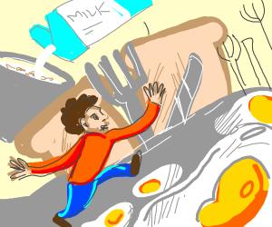 Long armed man running through Breakfast Land