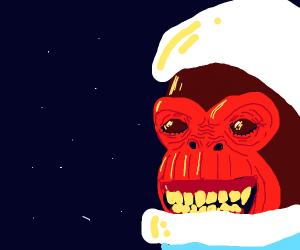monkey in spacesuit looking at space