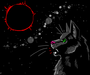 black cat meowing in a blood moon eclipse