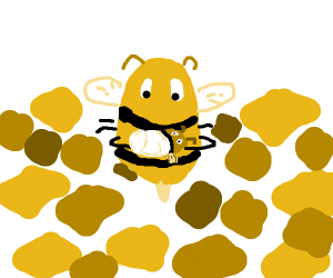 A bee mother cares for her baby