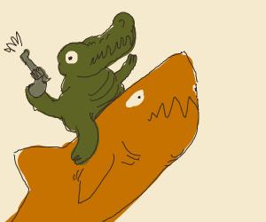 Alligator riding a Shark with a Gun