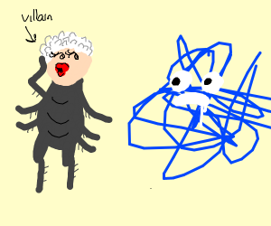bald grandma bug villain seduces scribble