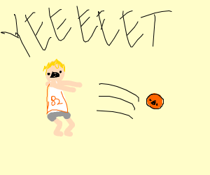 a person yeeting a basketball