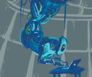 GLaDOS using a laptop