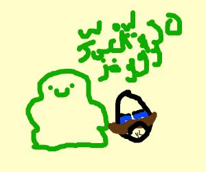 Jack turned into a slime, moustache man upset