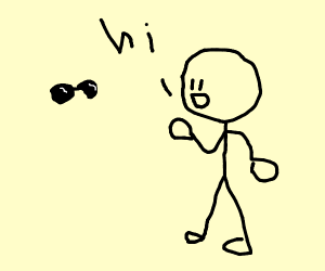 man greets invisible man with sunglasses on