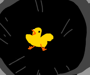 Duck alone in an endless abyss