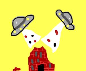 UFOs disintegrate buildings!