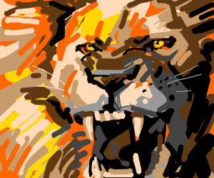 AN angry lion