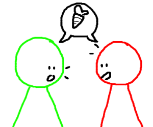 Green and red person discuss about a carrot