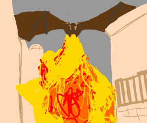 Dragon breathes fire onto burning city
