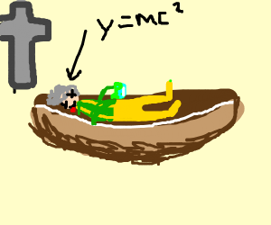 Einstein in a coffin holding slime