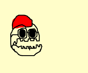 edgy-looking skull with glasses and mowhawk