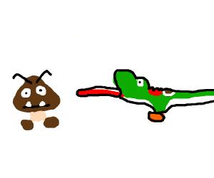 Yoshi eating a Goomba