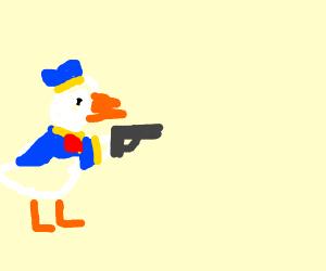 Donald duck is gunna shoot.