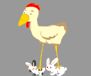 Chicken standing on two rabbits.