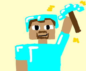 Minecraft guy holding a diamond pickaxe.