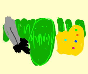 Thanos the pickle with sword and pickle army