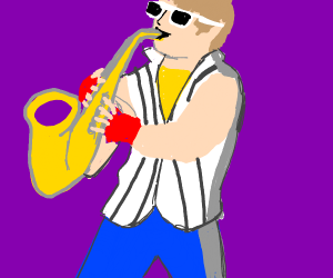 man playing a saxaphone like a boss