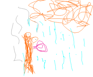 bacon bubble gum stares at rain cloud