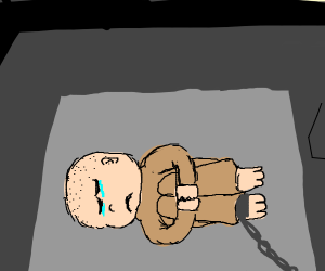 Man chained by the foot in captivity