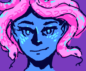 Meduse with blue skin and pink hair
