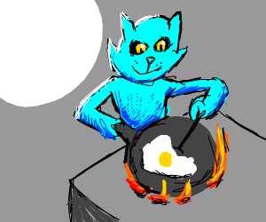 blue furry cat makes eggs