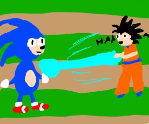 Sonic blasted by Kamehameha