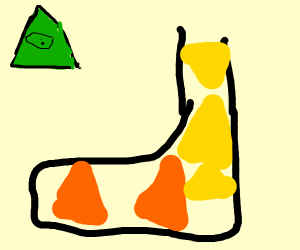 Sock with orange and yellow triangles