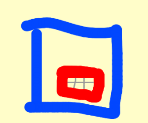 A blue square with a square mouth (nothing el