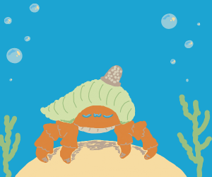 Hermit crab wears thimble hat uwu